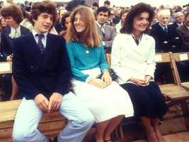 Caroline Kennedy with her brother and mother at an event in the late 1970s.