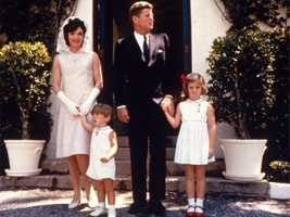 The Kennedy family on Easter Sunday at Palm Beach, Florida in April, 1963.