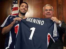 New England Revolution player Clint Dempsey presents a jersey to Menino, July 6, 2006.