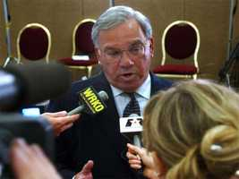 Menino talks with reporters on September 12, 2001 in an effort to reassure citizens after the terrorist attacks.