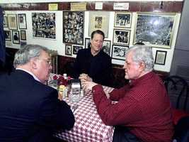 Democratic presidential candidate Al Gore sits down for breakfast at Charlie's Sandwich Shoppe with Ted Kennedy and Menino in Boston's South End March 4, 2000.