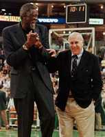 Red Auerbach and Russell during ceremonies in Boston honoring Auerbach for fifty years service with the team Nov. 3, 1999.