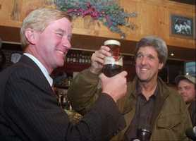 Weld and Kerry share a post-election toast at McGann's pub in Boston, Nov. 7, 1996. Weld invited Kerry for a beer after losing to him in the Senate election.