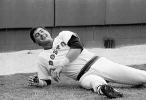 Yaz laughs at a teammate's joke as he did stretching exercises March 1, 1979 at the Red Sox training camp at Winter Haven, Fla.