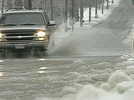 Motorists should not attempt to drive through flooded sections of road. Standing water can be deeper than it appears, and cars can easily become stranded.