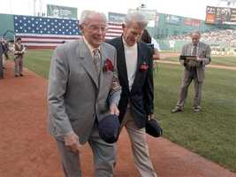 Dom DiMaggio and Johnny Pesky attend a tribute to Ted Williams July 22, 2002 at Fenway Park.