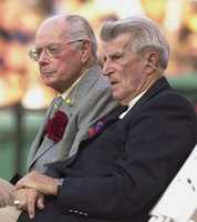 Former teammates of Hall of Famer Ted Williams, Dom DiMaggio, left, and Johnny Pesky, are seen July 22, 2002 during the Ted Williams tribute at Fenway Park in Boston.