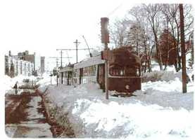 MBTA trolleys were also stopped on the tracks by the blizzard.