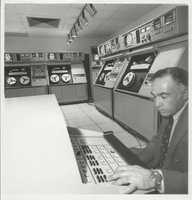 WCVB-TV Director of Engineering Steve DeSatnik with one of the world first computerized videotape editing systems. This room -- full of legendary AMPEX AVR-1 videotape recorders -- was valued at over $1 million in 1972.