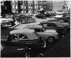 Parking lot near Kenmore Pharmacy in the 1950s.