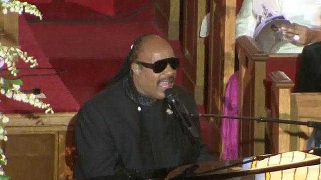 Whitney Houston Funeral -- Stevie Wonder sings - 30491103