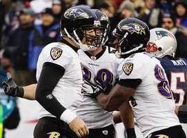 Joe Flacco celebrates with Baltimore Ravens tight end Dennis Pitta and  Ed Dickson, right, after his seven yard pass to Pitta during the 2012 game