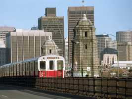 "The MBTA Red Line runs along the iconic ""Salt and Pepper"" Bridge"