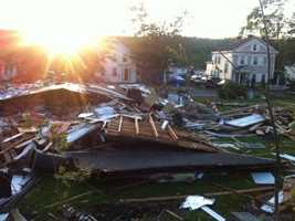 A morning sunrise in Monson two days after the tornado.