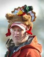 John Wilczewski of Bridgewater, wears a turkey hat during the festivities.