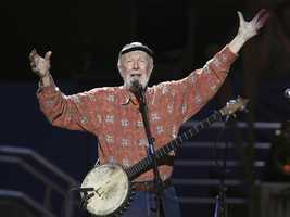 "Pete Seeger is a folk singer and an iconic figure in the mid-twentieth century American folk music revival. A fixture on nationwide radio in the 1940s, he also had a string of hit records during the early 1950s as a member of The Weavers, including a version of ""Goodnight, Irene."""