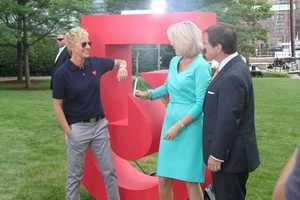 Ellen Degeneres, Ed Harding and Heather Unruh tape a promotional spot in Boston.