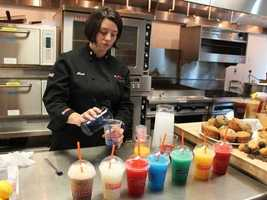 Heidi Curry is one of the mixologists who comes up with the recipes for some of the company's flavored and frozen concoctions.
