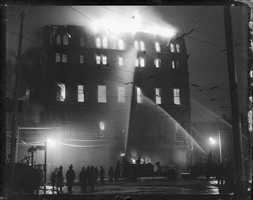 General alarm fire - Odd Fellows Hall - Corner Berkeley and Tremont 1932