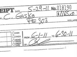 A rent receipt for June 2011, but they were arrested before the month was over.