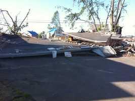 A flattened garage