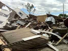 Hundreds of buildings and homes were damaged or destroyed.