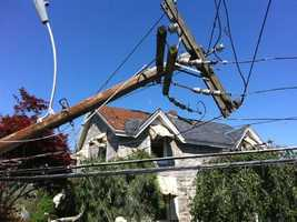 Virtually no telephone poles were left standing on some streets in Monson