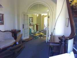 Damage inside the First Church of Monson