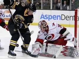 Boston Bruins' Brad Marchand, left, looks for the rebound off Carolina Hurricanes' Cam Ward in the second period of an NHL hockey game, Friday, Nov. 26, 2010, in Boston.