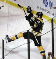 Boston Bruins right wing Nathan Horton celebrates his goal.