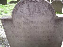 USS Trumbull is depicted on the grave of Lt. Jabez Smith, killed aboard the ship.