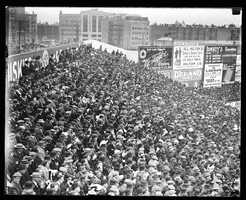 From the beginning, crowds flocked to the park. Here, fans gather for the 1912 World Series. The Sox beat the New York Giants 4-3.