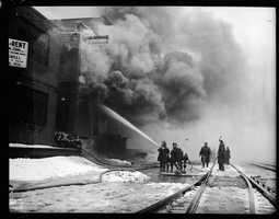 Fire crews battle a fire at Fenway in 1934.