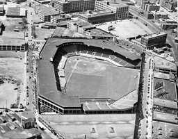 This is an undated aerial view of Fenway Park, ballpark of the Boston Red Sox, in Boston.