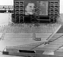 Fenway Park's new message board is installed in center field at the ballpark in Boston, March 12, 1976. The animated board depicts the likeness of the players.