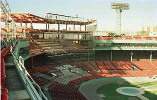 This is a December 1988 photo showing the a major renovation to Boston's Fenway Park.