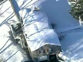 In Reading, a roof collapsed at a home on Marla Lane. No injuries were reported.