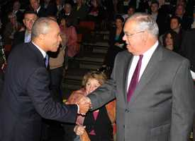 Gov. Deval Patrick shakes hands with Menino at the Governor's debate on Oct, 25, 2010
