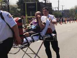 A runner is taken to the hospital after suffering an asthma attack.