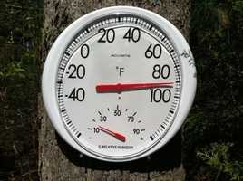A backyard thermometer in Easton.