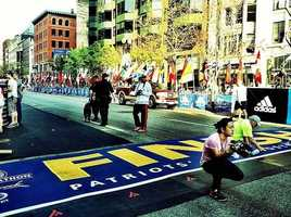 Runners in Boston getting a photo memory before the race.