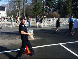 Because of the heat, public safety officials brought in water for the runners.