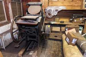 An old printing press is seen at Balsams Hotel.