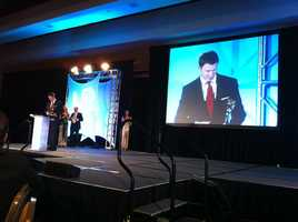 NewsCenter 5 reporter Sean Kelly accepts the EMMY for General Assignment Reporting.