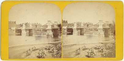 The signature suspension bridge was erected in 1867.