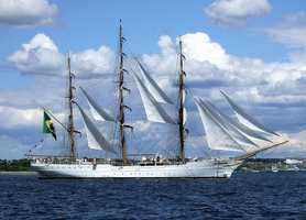 Cisne Branco of Brazil is a 249-foot long full-rigged tall ship and is home-ported in Rio de Janeiro. Built in 1998, she is one of the newest ships participating.  She will be docked at the Fish Pier.