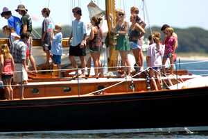 The group spent several hours on Nantucket Sound sailing.