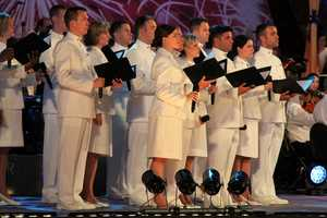 The U.S. Navy Sea Chanters led a patriotic sing-along.