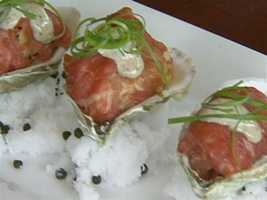 Carpet Baggers: carpaccio wrapped around Wellfleet oysters.