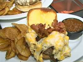 The Mac Attack: macaroni and cheese and bacon, from the griddle.